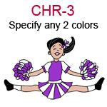 CHR-3 Fair skinned black haired jumping cheer leading girl with pompoms  Specify any two colors for outfit