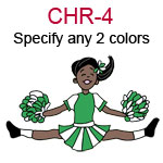 CHR-4 Dark skinned black haired jumping cheer leading girl with pompoms  Specify any two colors for outfit