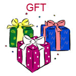GFT Three birthday packages green blue and pink