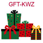 GFT-KWZ Four red and green presents tied with bows
