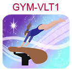 GYM-VLT1 Fair skinned brown haired girl wearing purple leotard on vault