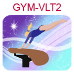 GYM-VLT2 Fair skinned blond girl wearing purple leotard on vault
