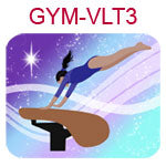GYM-VLT3 Medium skinned black haired girl wearing purple leotard on vault