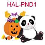 HAL-PND1 A panda leaning against a jack o lantern filled with candy