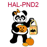 HAL-PND2 A girl panda with pumpkins and trick or treat bag