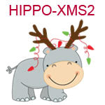 Hippo with reindeer antlers