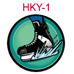 HKY-1 A black and white hockey skate on a teal background