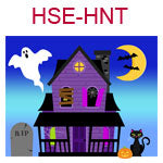 HSE-HNT  A haunted house with black cat ghost and yellow moon