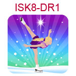 ISK8-DR1 Fair skinned blond girl doing ice skating spiral on blue and purple background