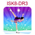 ISK8-DR3 Fair skinned black haired girl doing ice skating spiral on blue and purple background