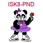 ISK8-PND Panda girl ice skater wearing purple dress holding a rose