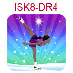 ISK8-DR4 Dark skinned black haired girl doing ice skating spiral on blue and purple background