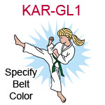 KAR-GL1 Light skinned blond karate kick girl wearing white gi  please specify belt color