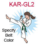 KAR-GL2 Light skinned brown haired karate kick girl wearing white gi  please specify belt color