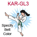 KAR-GL3 Light skinned black haired karate kick girl wearing white gi  please specify belt color