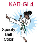 KAR-GL4 Dark skinned black curly haired karate kick girl wearing white gi  please specify belt color