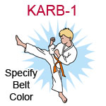 KARB-1 Fair skinned blond karate kick boy wearing white gi  please specify belt color