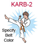 KARB-2 Fair skinned brown haired karate kick boy wearing white gi  please specify belt color