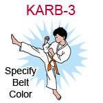 KARB-3 Fair skinned black haired karate kick boy wearing white gi  please specify belt color