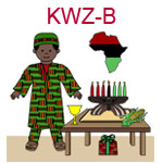 KWZ-B  A dark skinned boy dressed in an African outfit near table with kinara chalice and gift