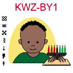 KWZ-BY1 Dark skinned baby boy with African hair and green shirt next to Kwanzaa Kinara with seven candles
