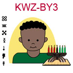 KWZ-BY3 Dark skinned young boy with African hair and green shirt next to Kwanzaa Kinara with seven candles