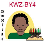 KWZ-BY4 Dark skinned young boy with African hair and green shirt next to Kwanzaa Kinara with seven candles