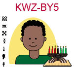 KWZ-BY5 Dark skinned teen boy with African hair and green shirt next to Kwanzaa Kinara with seven candles