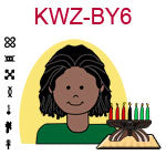 KWZ-BY6 Dark skinned teen boy with African dreaklocks and green shirt next to Kwanzaa Kinara with seven candles