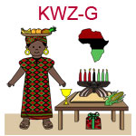KWZ-B  A dark skinned girl dressed in an African outfit near table with kinara chalice and gift