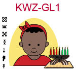 KWZ-GL1 Dark skinned baby with red hair band and shirt next to Kwanzaa Kinara with seven candles