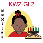 KWZ-GL2 Dark skinned baby girl with top knot and red shirt next to Kwanzaa Kinara with seven candles