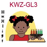 KWZ-GL3 Dark skinned toddler girl with pig tails and red shirt next to Kwanzaa Kinara with seven candles