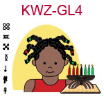 KWZ-GL4 Dark skinned toddler girl with African braids and red shirt next to Kwanzaa Kinara with seven candles