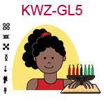 KWZ-GL5 Dark skinned teen girl with curly ponytail and red shirt next to Kwanzaa Kinara with seven candles