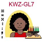 KWZ-GL7 Dark skinned teen girl with curly long hair and red shirt next to Kwanzaa Kinara with seven candles