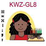 KWZ-GL8 Dark skinned girl with long black hair wearing red tank top next to Kwanzaa Kinara with seven candles