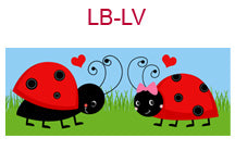 LB-LV Boy and girl ladybugs with hearts