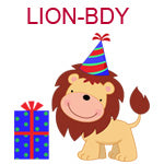 LION-BDY Lion wearing birthday hat standing next to blue package