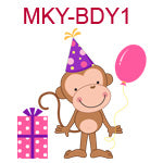 MKY-BDY1 Girl monkey wearing pink birthday hat holding pink balloon standing next to pink package