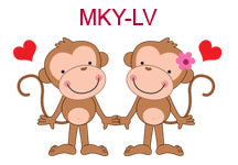 MKY-LV Boy and girl monkeys with hearts