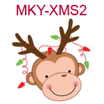 Monkey head with reindeer antlers