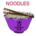 NOODLES A purple bowl with noodles and chopsticks