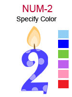 NUM-2 Number two birthday candle specify color