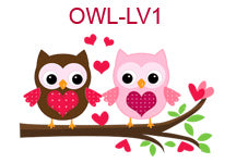 OWL-LV1 Brown and pink owls on tree branch with hearts