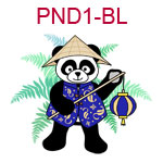 PND1-BL Panda wearing Chinese blue jacket a cone hat and carrying a lantern