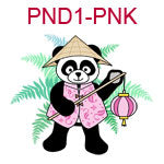 PND1-PNK Panda wearing Chinese pink jacket a cone hat and carrying a lantern