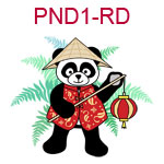 PND1-RD Panda wearing Chinese red jacket a cone hat and carrying a lantern