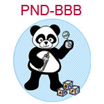 PND-BBB Boy panda with bottle rattle and building blocks