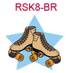 RSK8-BR Brown roller skates on blue star background